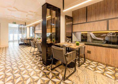 Restuarant tables & fireplace unit